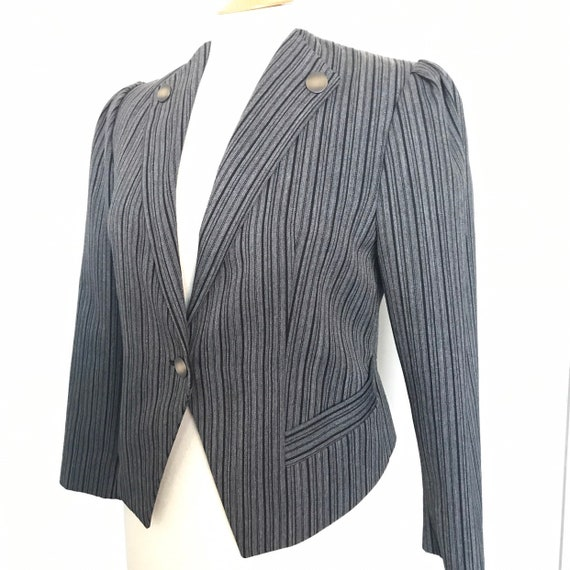 Vintage jacket,pinstripe jacket,steam punk,Swiss,Tirolian,military buttons fitted,coat classic,UK 14,steampunk,grey