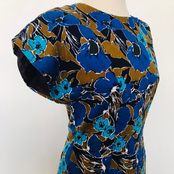 Vintage dress,wiggle dress,blue poppy print, floral dress,UK 8,Puccini,pencil skirt 1980s does 50s,button back dress,