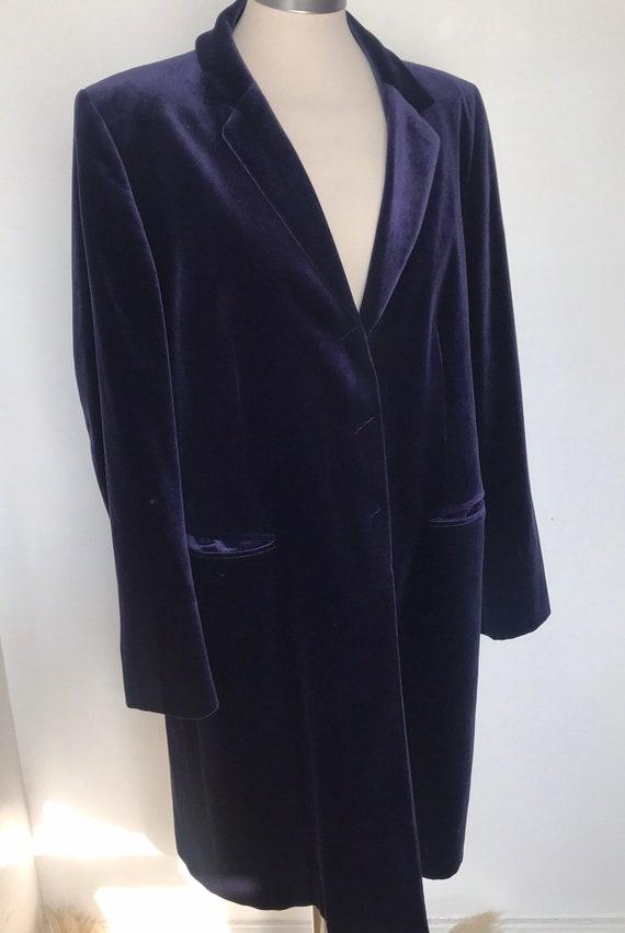 Vintage velvet jacket, size 16, blue velvet,3/4 jacket, crombie style, 90s, velvet coat, gothic, goth, US 12, mid