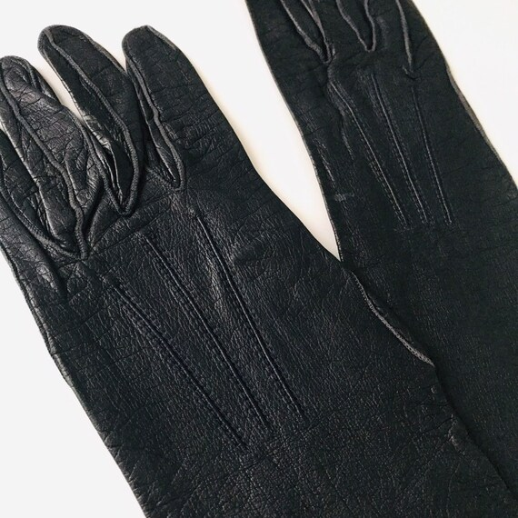 Vintage leather gloves blue fine leather long gloves size 5 6 1930s 1940s fine soft accesory pin up navy blue long gloves