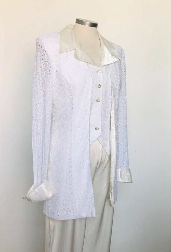 Vintage suit,white lace wedding outfit,3 piece,jacket,pants,vest,UK 8,10,alternative wedding,1980s,satin,cream,glam,waistcoat