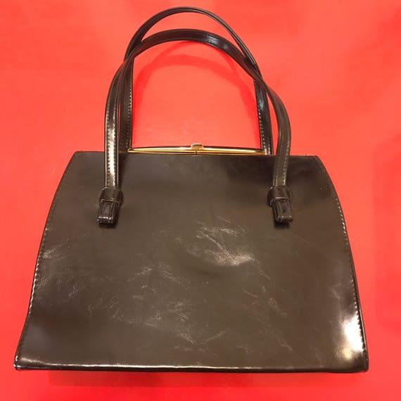 mod handbag vintage bag black faux leather box bag gold clasp top short handle scooter girl wedding work purse pleather vegan