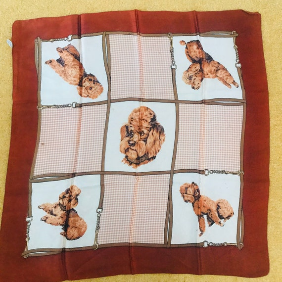 1950s poodle scarf, novelty print,square neckerchief 50s novelty print silky dog theme, satin,brown,gingham,vintage scarf