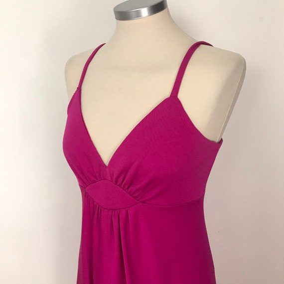 70s dress, maxi dress, magenta, vintage dress, disco, studio 54, prom, 1970s, evening dress, UK 8, hot pink dress, wedding guest, strappy,