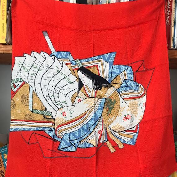 Vintage scarf,vintage silk,square,Japanese Silk,ART scarf, Kabuki theatre print,Red scarf,painterly, Crepe silk,souvenir,traditional