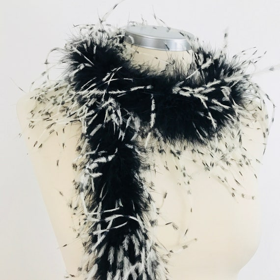 Vintage feather boa, ostrich feathers, wrap, feathery scarf, black white, 1920s style, burlesque, evening wrap, cabaret glamour wedding, 20s