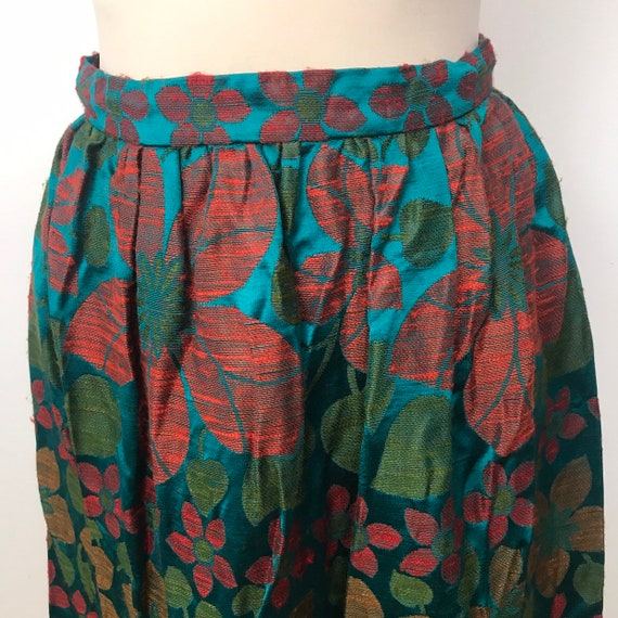1960s skirt, 1970s maxi skirt, jewel tone, turquoise, long daisy glamour disco boho festival A line flare UK 10 12, Christmas party flowery