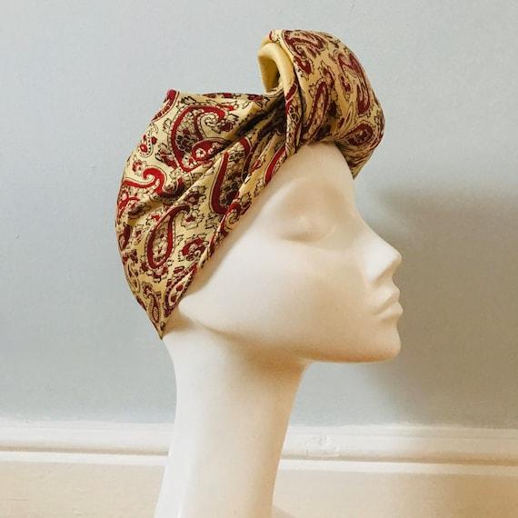 Vintage scarf,1940s scarf, paisley print,silk scarf,vintage square, paisley,large scarf,yellow,large,classic design 1940s turban land girl