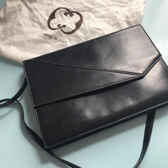 Vintage Gucci,Gucci handbag,Black Leather purse,envelope bag,clutch,1980s,1970s,dust bag,evening bag,80s Gucci