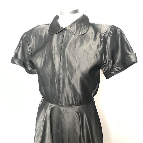 1940s dress, Handmade dress, Silver,gunmetal,tafetta satin,tea dress, 40s frock,UK 6,wartime WW2 make do mend,Trashed,Halloween,Wednesday