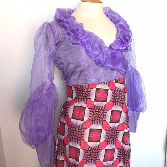 Maxi dress,lilac chiffon,frilly, African fabric,traditional print,avant garde,UK 16,boho,hippy,unusual,70s,drag,glam,plus size