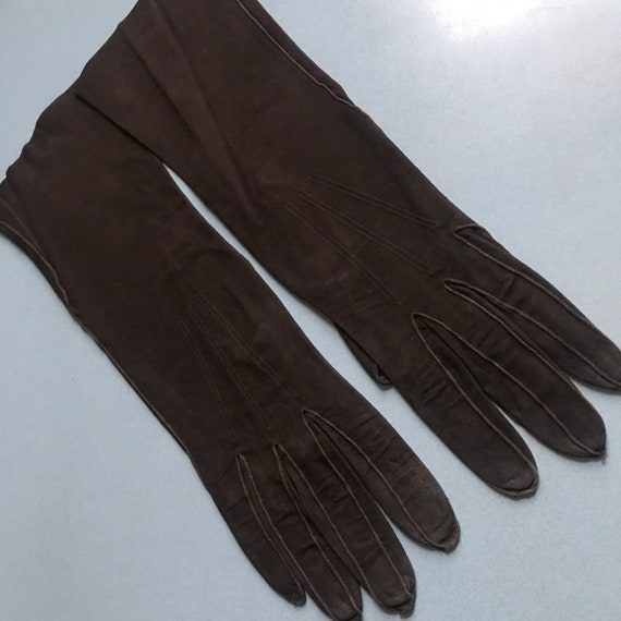 Vintage gloves,brown gloves,suede,size 6,30s,fine suede,40s,winter,steam punk,unlined,petite,small