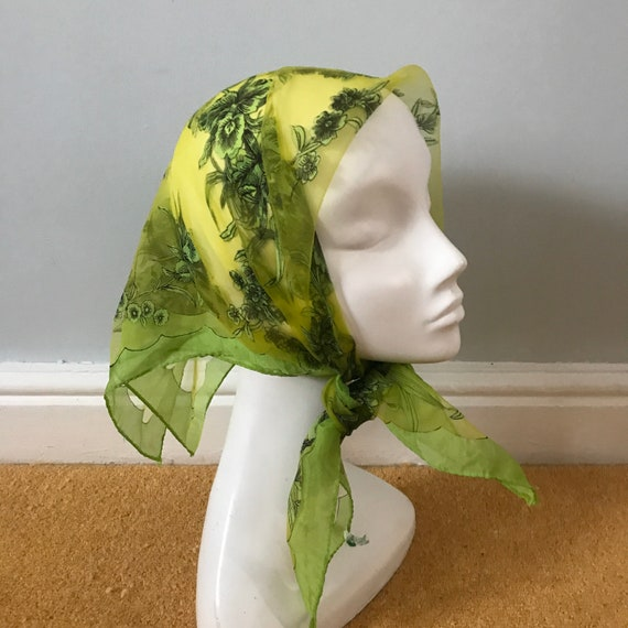 1950s scarf,novelty print, scarf, sheer scarf, lime green, acid green, 50s pin up rockabilly, chiffon scarf, 50s head scarf, orchids