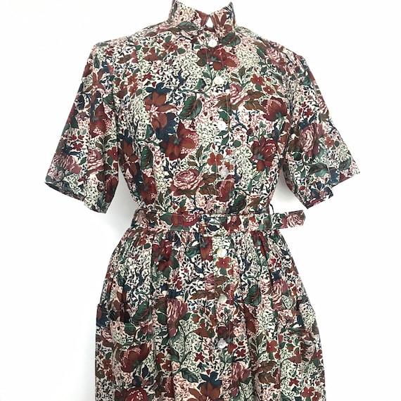 Vintage dress,shirt dress,midi,80s does 50s,floral,Liberty print,chintz,rose print,UK 14,shirtwaister,vintage cotton dress