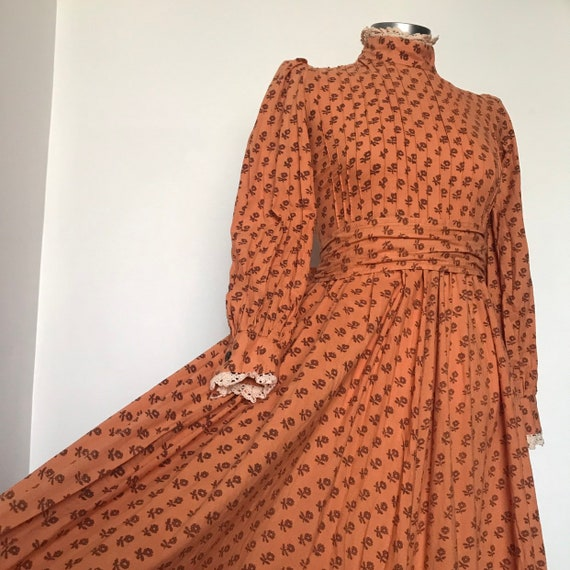 Vintage dress,vintage Laura Ashley,70s cotton, block print,cotton chintz, victoriana,prairie dress,maxi,orange,1970s,boho, hippie, UK 8
