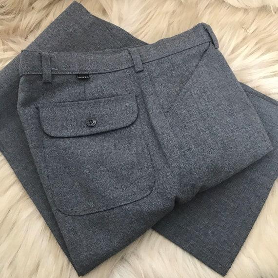 "Vintage slacks,gray pants,grey trousers,vintage Levi's,woven,mens trousers,34"" waist,vintage menswear,flared,flare"
