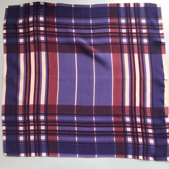1940s scarf, crepe scarf, checkered,purple mulberry,check,pocket square,neck tie,handkerchief,40s,menswear,neckerchief