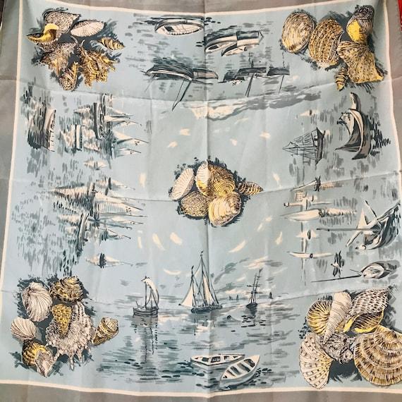 Vintage scarf,novelty print,seaside,shells,1930s,40s,rockabilly headscarf,neckerchief square,fun,vintage accessory,blue,synthetic,sea shell