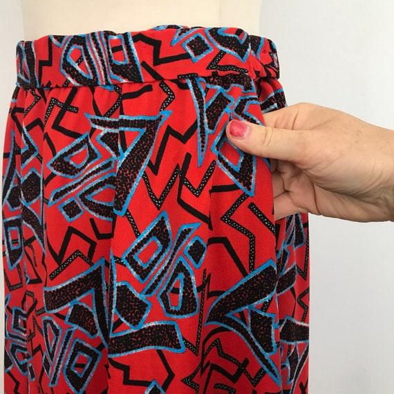 "Vintage skirt, Maxi skirt, 1970s, nu wave, chinese characters, red skirt, boho, polyester, 70s, 27"", UK 10, long skirt, geometric"