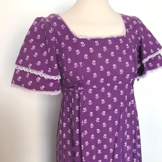Vintage dress, vintage Laura Ashley, 70s cotton,purple dress,chintz,regency style,empire line,size 8, boho, hippie,1970s dress, prairie,