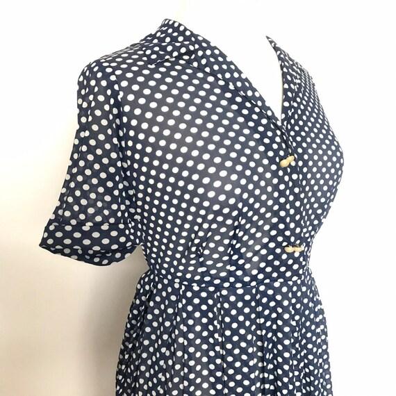 Vintage dress,spotty dress,shirt dress,early nylon,1950s,UK 12,14,polka dot,original 50s,shirtwaister,rockabilly,sheer dress,pin up,