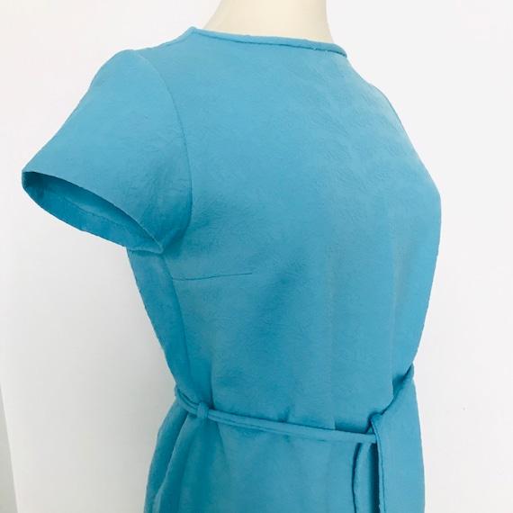 Vintage dress 1960s Mod dress turquoise blue crimplene GoGo shift dress UK 14 16 quant style scooter girl crimplene straight cut sky blue