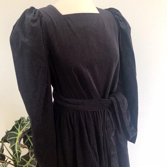 Laura Ashley dress,vintage corduroy,black cord,goth,prairie dress,1980s,made in Great Britain, black dress,long sleeves,UK 12,needle cord,