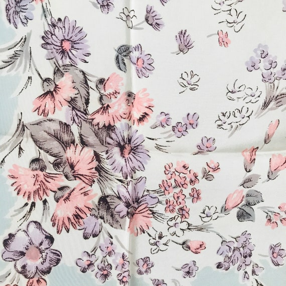 Vintage scarf,novelty print, carnations, 1930s, 40s, rockabilly headscarf,neckerchief square,vintage accessory,pastel, synthetic,30s scarf