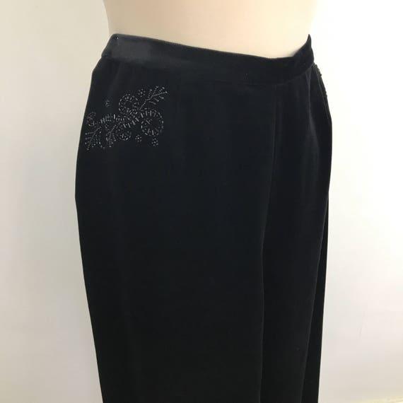 Vintage pants black velvet peg leg 50s style high waisted trousers UK 14 Laura Ashley 1980s does 1950s pin up evening ankle length glamour v