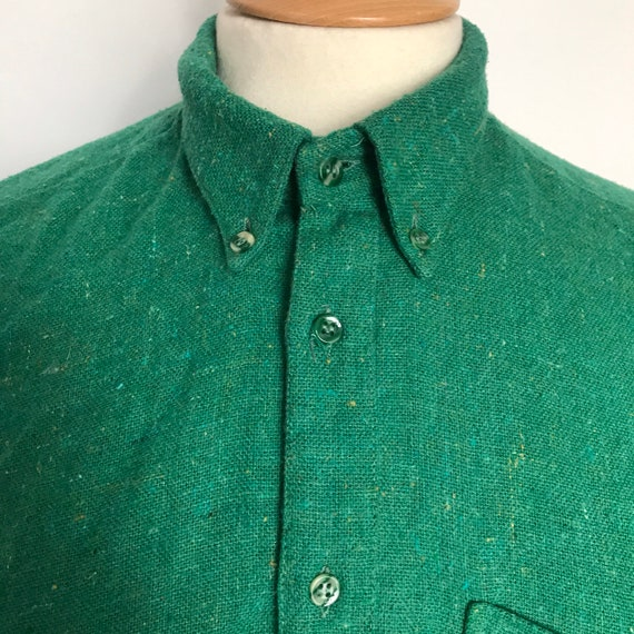 Vintage shirt,green shirt,button down collar,Mod,avant garde,Propellor,UK 14,utility,utilitarian,1980s,wool mix, grass green, mens vintage,