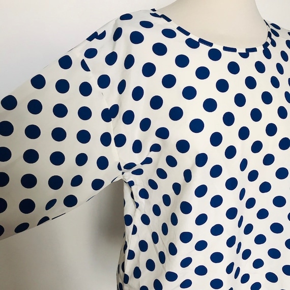 Long sleeve tee,polyester t shirt,spotty top,vintage spotted top, oversize,blue spotty blouse,UK 8,square cut,minimal,1980s top,80s tee