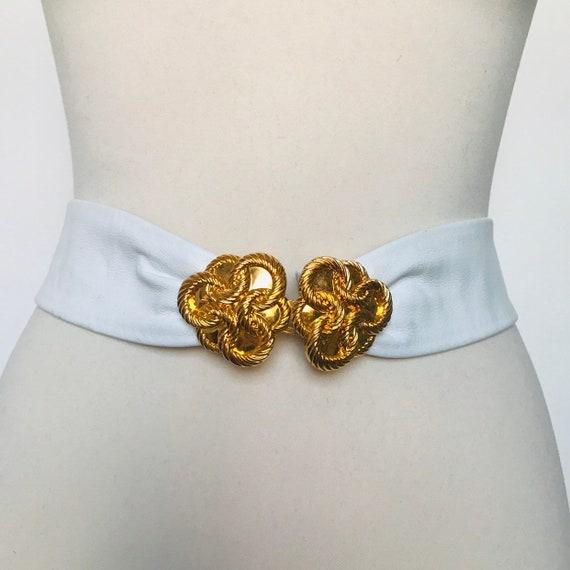 Vintage belt,waist belt,white leather belt, vintage novelty gold buckle,clasp,gold clip,wide belt,1980s,80s belt,50s