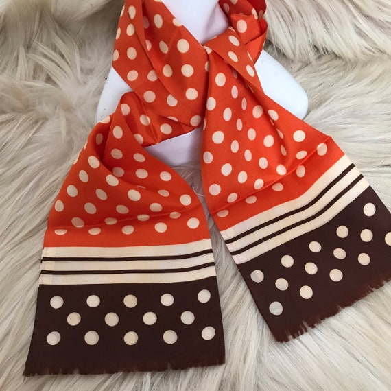 1960s scarf, long scarf, silky bold spotty design brown, orange, 60s oblong, GoGo, polka dot, satin, fringed, 1930s feel, 30s