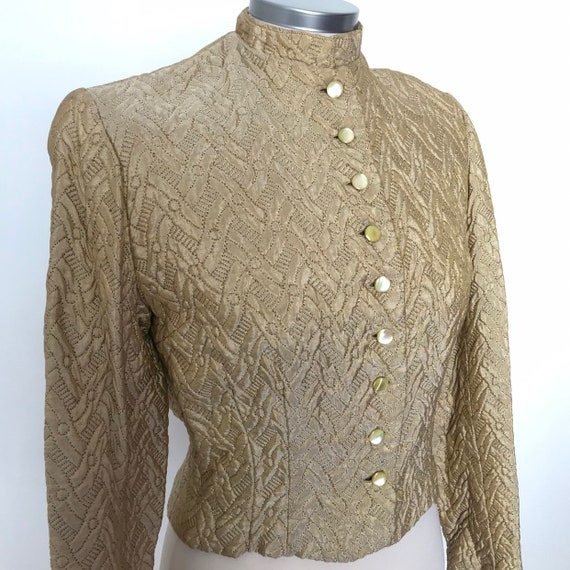 1940s jacket,40s evening jacket,quilted,gold,satin,cropped,1930s, vintage,puffed sleeves,steampunk,LARP,historical,UK 8, 10