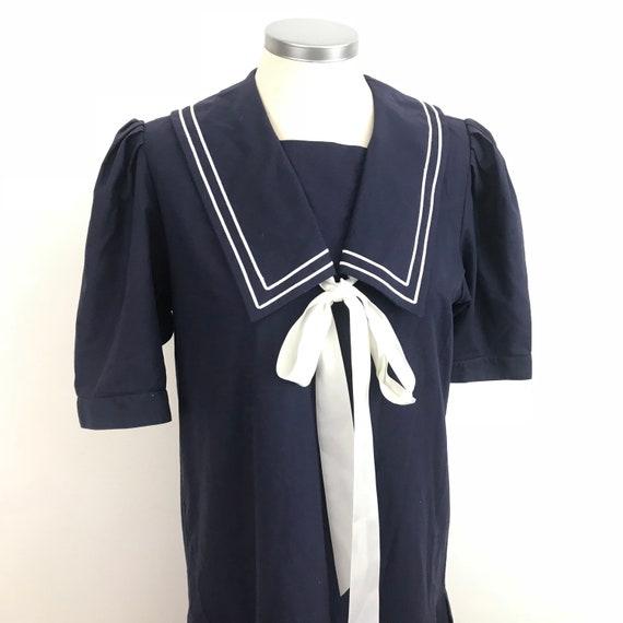 Vintage Laura Ashley, vintage sailor dress navy blue, nautical, lolita, drop waist, 20s style, LARP steam punk historical UK 12, cotton