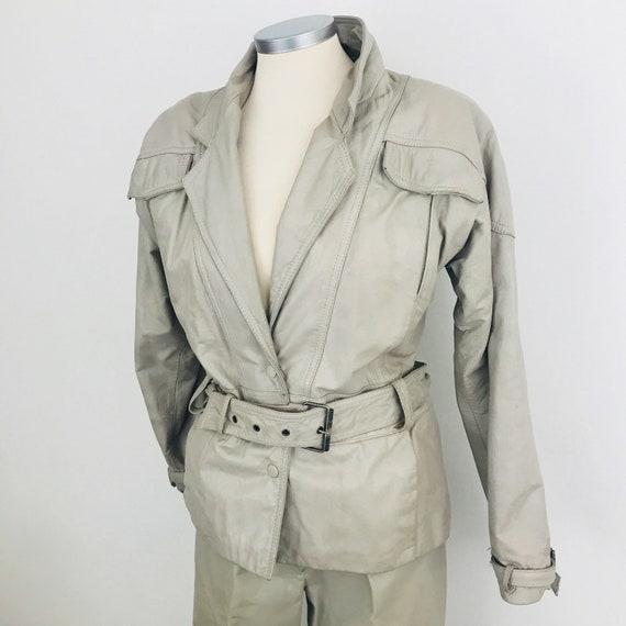 Vintage leather jacket, beige jacket, grey jacket, bomber jacket, trashy, shoulder pads, UK 10, 12, leather suit, 80s leather