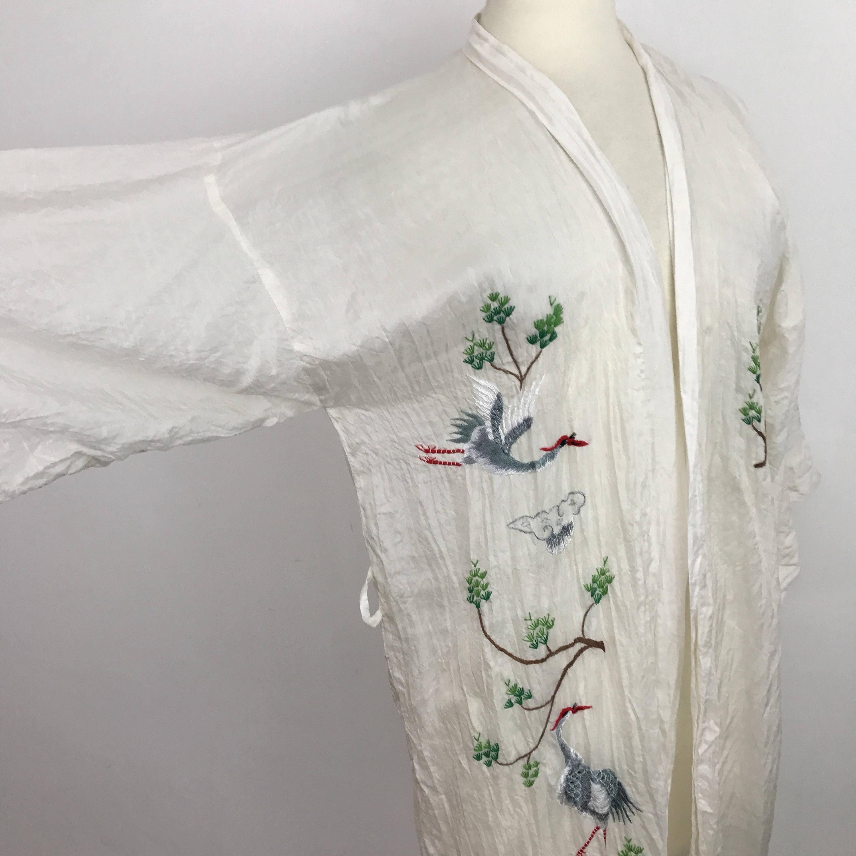 Vintage silk kimono sheer white dressing gown embroidery storks ...