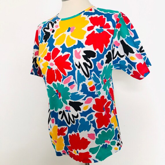 Vintage t shirt,1980s jazzy tee,flower power,90s,rainbow,bold print t shirt,painterly,cotton top 80s nu wave UK 10,nu wave