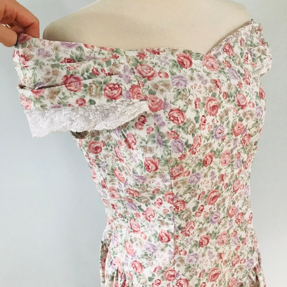 Vintage dress,cotton dress,rose print, loff shoulder,chintz,floral cotton,prairie dress,80s,pretty,girlie,OTT,ballgown,gypsy,14,lace