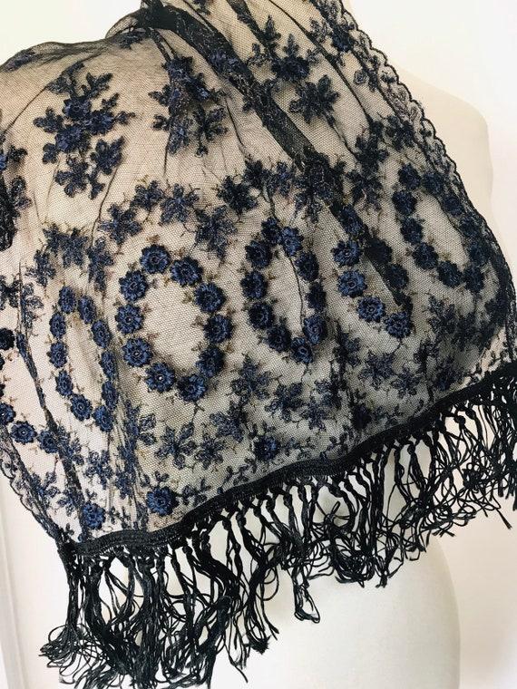 Vintage shawl, net scarf, evening cover up, black navy,floral,embroidered,tassels,mantilla black,gothic,long