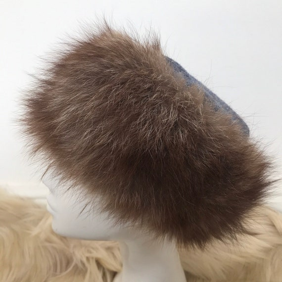 Vintage hat, fur hat, pill box, tweed trim, furry hat, winter ski hat small medium, fur hat , wool, blue,
