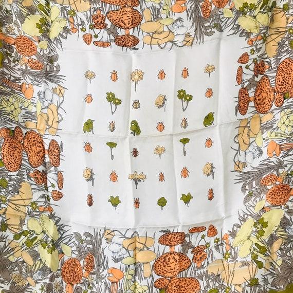 1960s scarf,vintage scarf,square,mushroom print,fungi,novelty print,silk scarf,60s,boho headscarf,orange,scooter girl Mod Twiggy