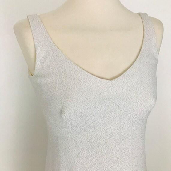 1960s mini dress , Mod dress,crimplene,A line skirt, white, shimmer, strappy, empire line, UK 8, babydoll, GoGo