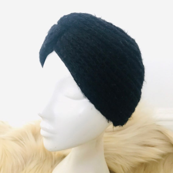 Vintage turban, knitted turban,black turban,knit turban,hat,80s does 40s,black mohair,vintage headpiece,gothic,glam,winter turban