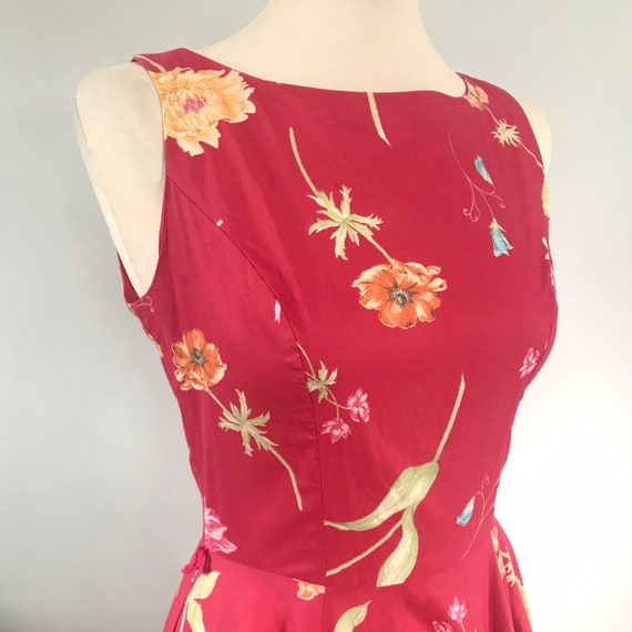 Vintage cotton dress,Laura Ashley dress,cotton tea dress,red,floral,tulips,UK 8 flowery,flared skirt,circle skirt,1950s style sundress,coral