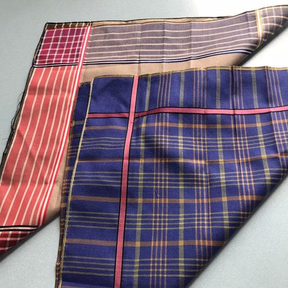 Vintage pocket square X 2 plaid, cotton scarf check scarf, silk mix, gentlemans handkerchief, 40s, 50s, gents accessory, menswear