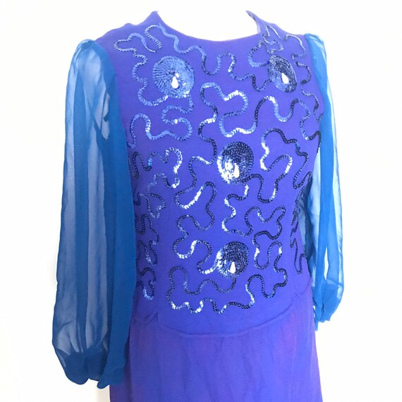 Vintage dress, sequin shift dress,blue dress,1960s dress,chiffon sleeves,sequined,GoGo,UK 14,sparkly,flared sleeves