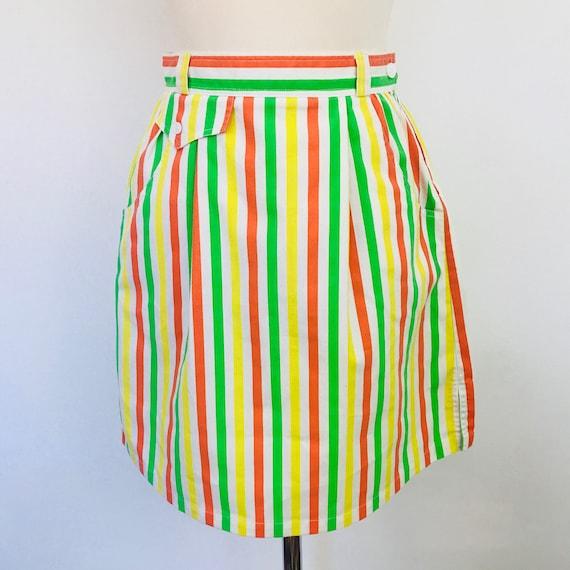 "Vintage skirt, Striped skirt, orange stripes, pencil skirt, straight cut, high waist, pin up, 8, 26"" waist, deckchair stripe, citrus, cotton"