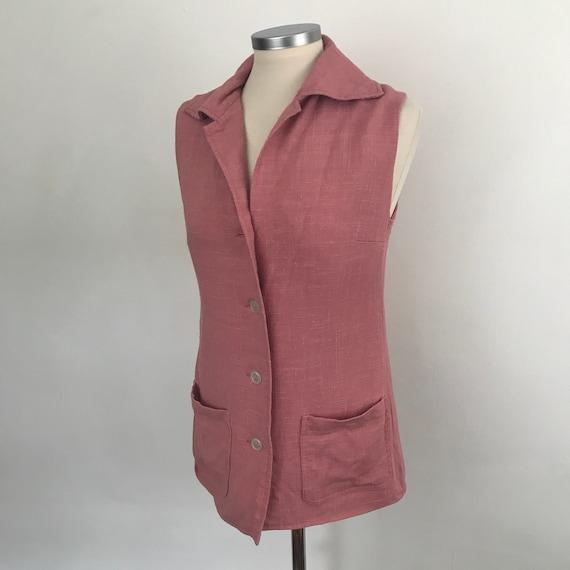 Vintage waistcoat mod vest dusky pink linen longline fitted classic Jaeger style 1970s does 1940s UK 10 US 6 60s