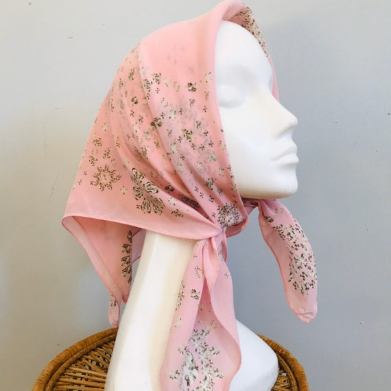 Vintage scarf,diamonds, jewel, diamond ,vintage novelty print,pink, crew silk square,scarves,90s,Y2K, baby pink,